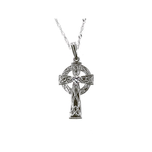 Celtic Cross Pendant with Diamonds, White Gold
