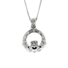Load image into Gallery viewer, Claddagh Pendant with Diamonds, White Gold