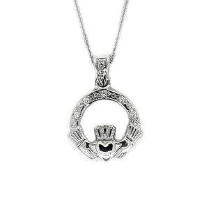 Claddagh Pendant with Diamonds, White Gold