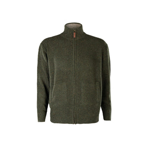 Fine Full Zip Neck Sweater, Green