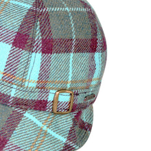 Load image into Gallery viewer, Donegal Tweed Flapper Cap, Aqua & Wine