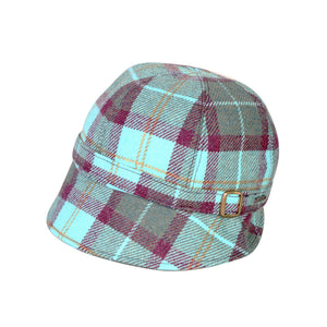 Donegal Tweed Flapper Cap, Aqua & Wine