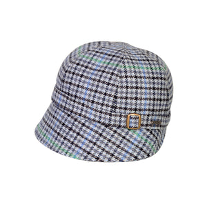 Donegal Tweed Flapper Cap, Blue Check