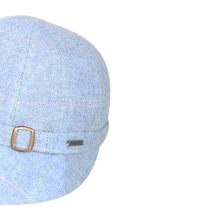 Donegal Tweed Flapper Cap, Blue & Pink Windowpane