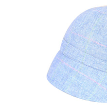 Load image into Gallery viewer, Donegal Tweed Flapper Cap, Blue & Pink Windowpane