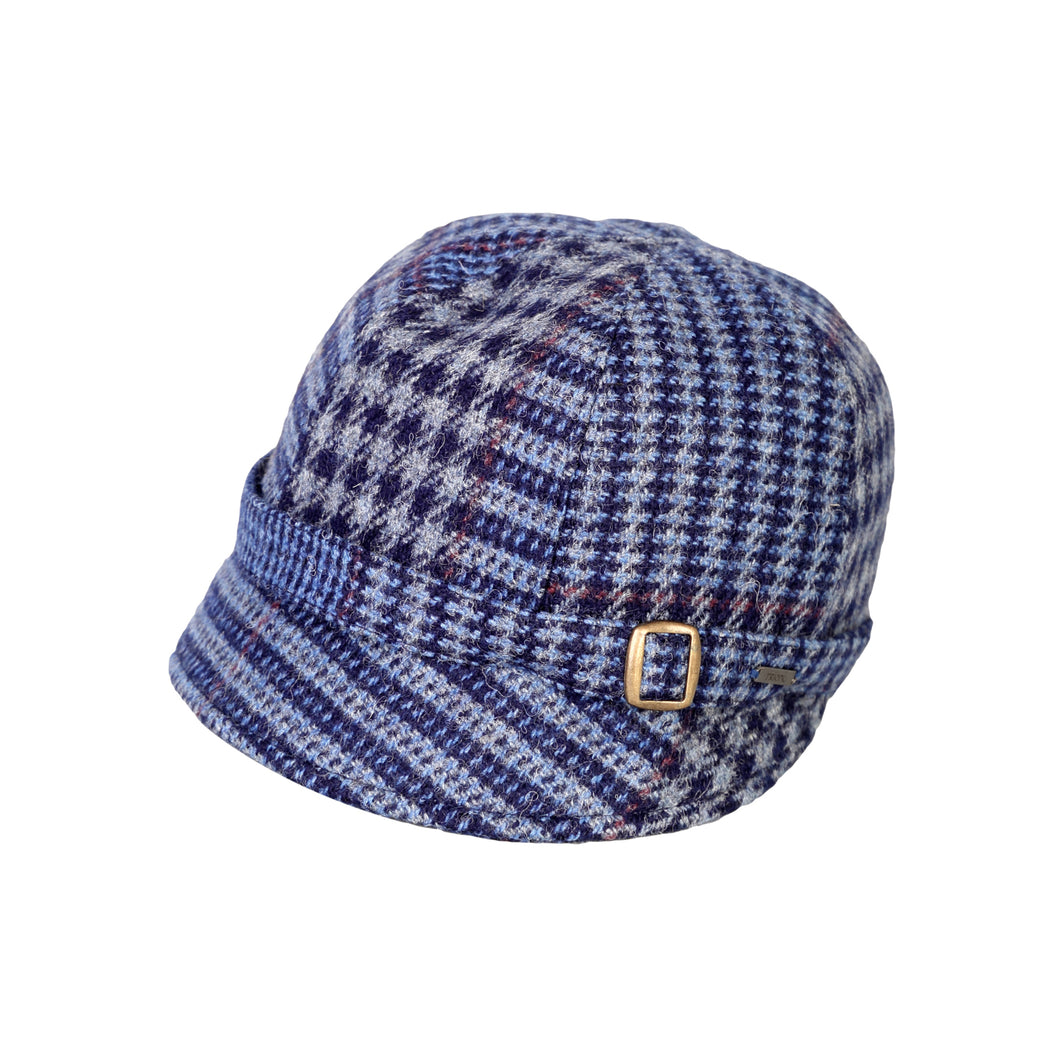 Donegal Tweed Flapper Cap, Blue & Red Check