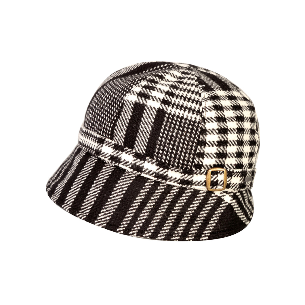 Donegal Tweed Flapper Cap, Black & White Houndstooth