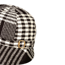 Load image into Gallery viewer, Donegal Tweed Flapper Cap, Black & White Houndstooth