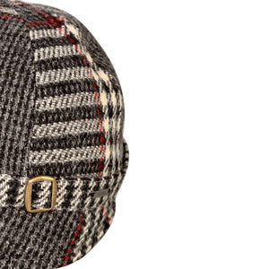 Donegal Tweed Flapper Cap, Charcoal & Red