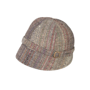 Donegal Tweed Flapper Cap, Grey & Multi Stripe