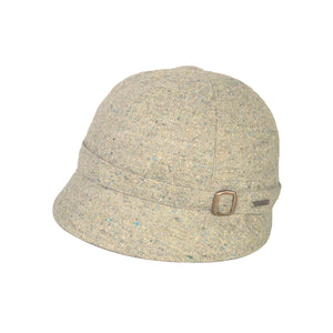 Donegal Tweed Flapper Cap, Green Fleck