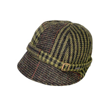 Load image into Gallery viewer, Donegal Tweed Flapper Cap, Green & Rust Check