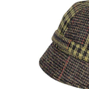 Donegal Tweed Flapper Cap, Green & Rust Check