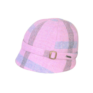 Donegal Tweed Flapper Cap, Lilac & Blue
