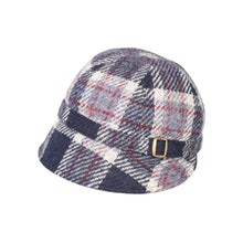 Load image into Gallery viewer, Donegal Tweed Flapper Cap, Navy & Red Check
