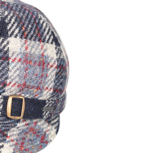 Donegal Tweed Flapper Cap, Navy & Red Check