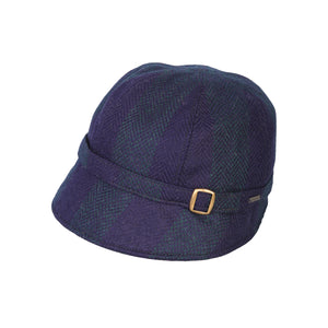 Donegal Tweed Flapper Cap, Navy Stripe