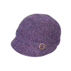 Donegal Tweed Flapper Cap, Purple Herringbone