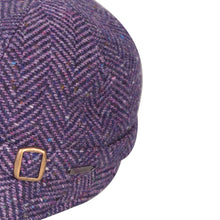 Load image into Gallery viewer, Donegal Tweed Flapper Cap, Purple Herringbone