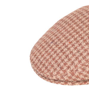 Flat Cap, Brown Houndstooth with Ear Flaps