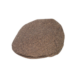 Flat Cap, Brown Herringbone