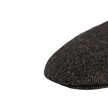 Load image into Gallery viewer, Flat Cap, Charcoal Herringbone