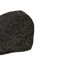 Load image into Gallery viewer, Flat Cap, Charcoal Herringbone with Ear Flaps