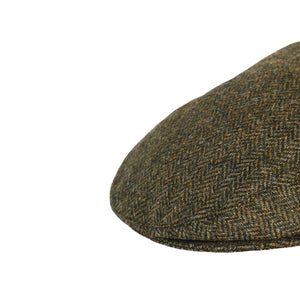 Flat Cap, Green Herringbone with Ear Flaps