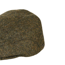 Load image into Gallery viewer, Flat Cap, Green Herringbone with Ear Flaps