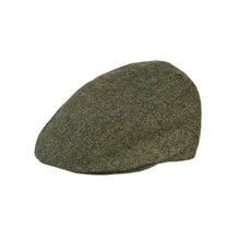 Load image into Gallery viewer, Flat Cap, Green Salt & Pepper with Ear Flaps