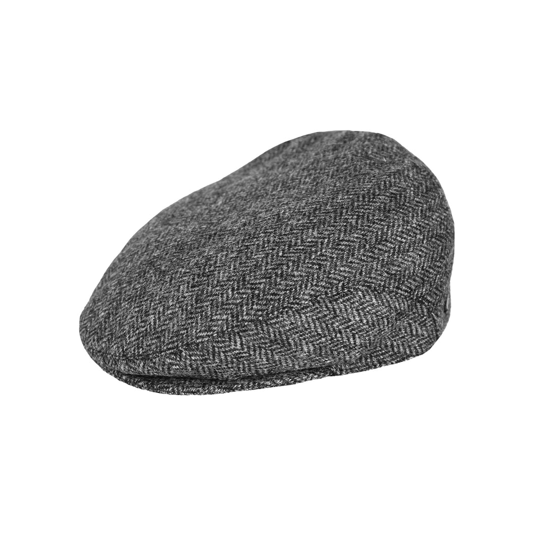 Flat Cap, Grey Herringbone