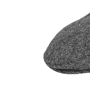 Grey Herringbone Donegal Tweed Flat Cap