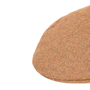 Flat Cap, Rust Herringbone with Ear Flaps