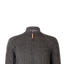 Load image into Gallery viewer, Zip Cardigan with Shoulder Patches, Charcoal