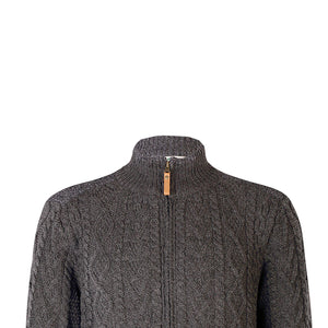 Zip Cardigan with Shoulder Patches, Charcoal