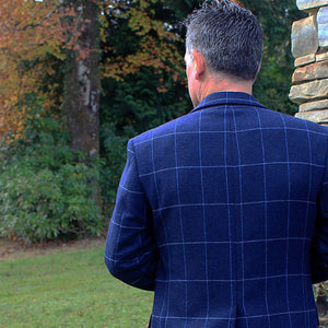 Donegal Tweed Jacket - Navy Windowpane