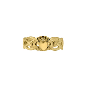 Claddagh Ring with Celtic Band, Yellow Gold