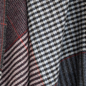 Grey & Navy Houndstooth Check Donegal Tweed Fabric Sample