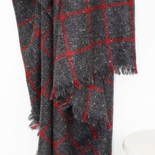 Load image into Gallery viewer, Grey & Red Windowpane Donegal Tweed Blanket