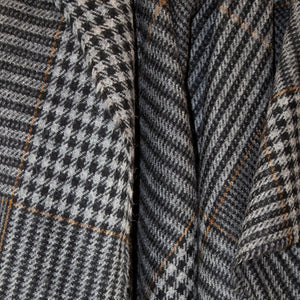 Grey & Camel Houndstooth Check Donegal Tweed Fabric