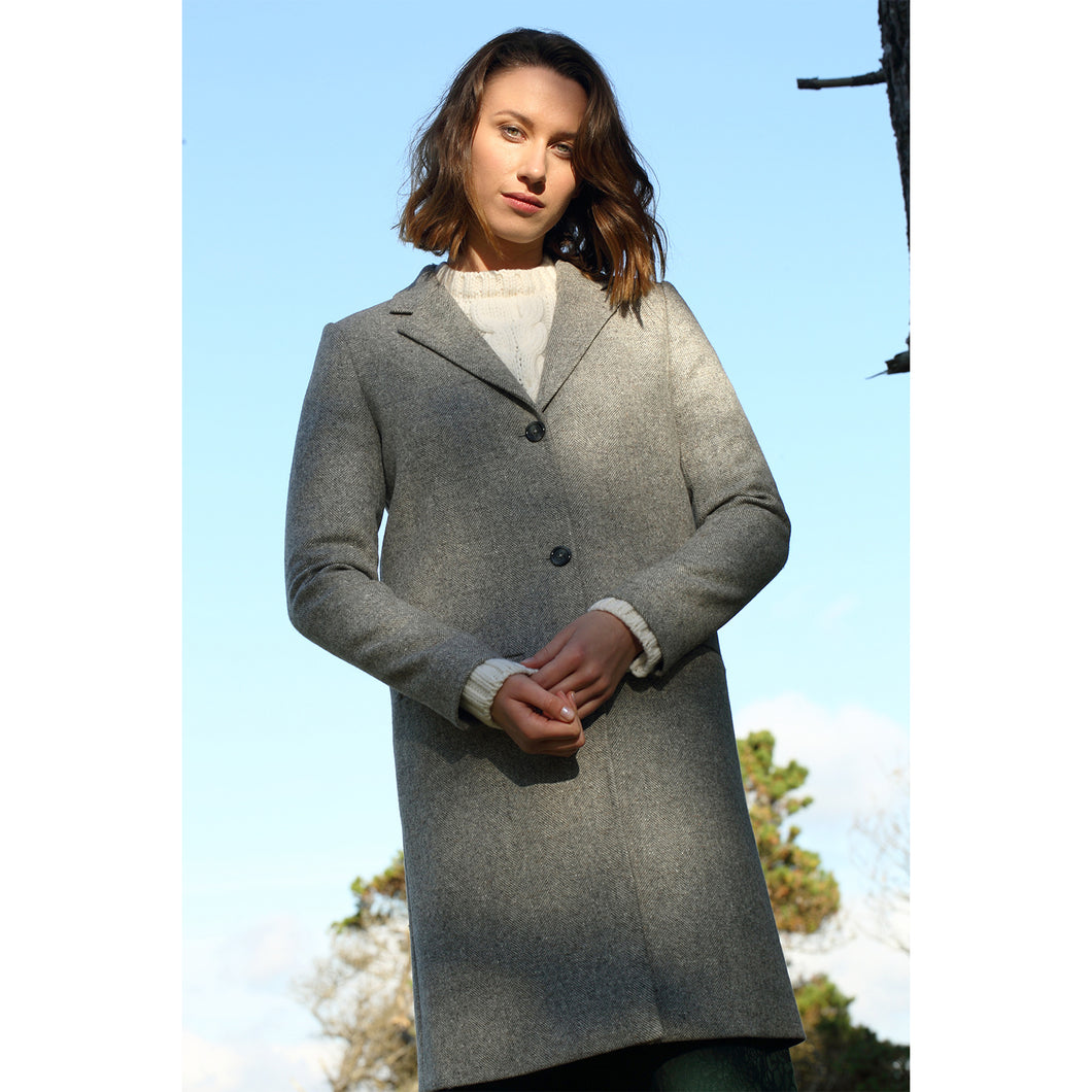 Aoibheann Coat, Light Grey Herringbone