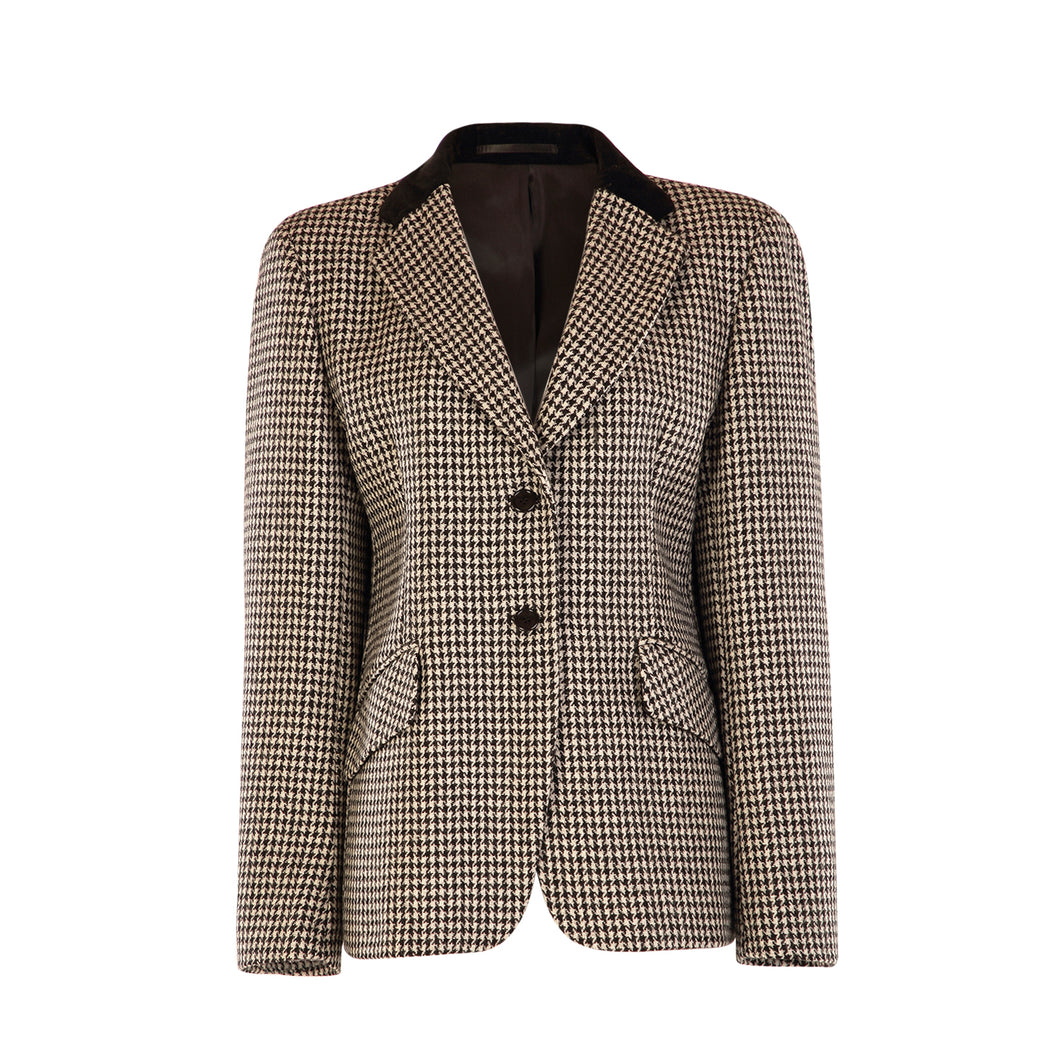 2 Button Velvet Collar Jacket - Black/White Houndstooth
