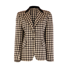 Load image into Gallery viewer, 4 Button Velvet Collar Hacking Jacket - Black & White Square