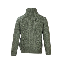 Load image into Gallery viewer, Green Hand Knit Aran Zip Cardigan