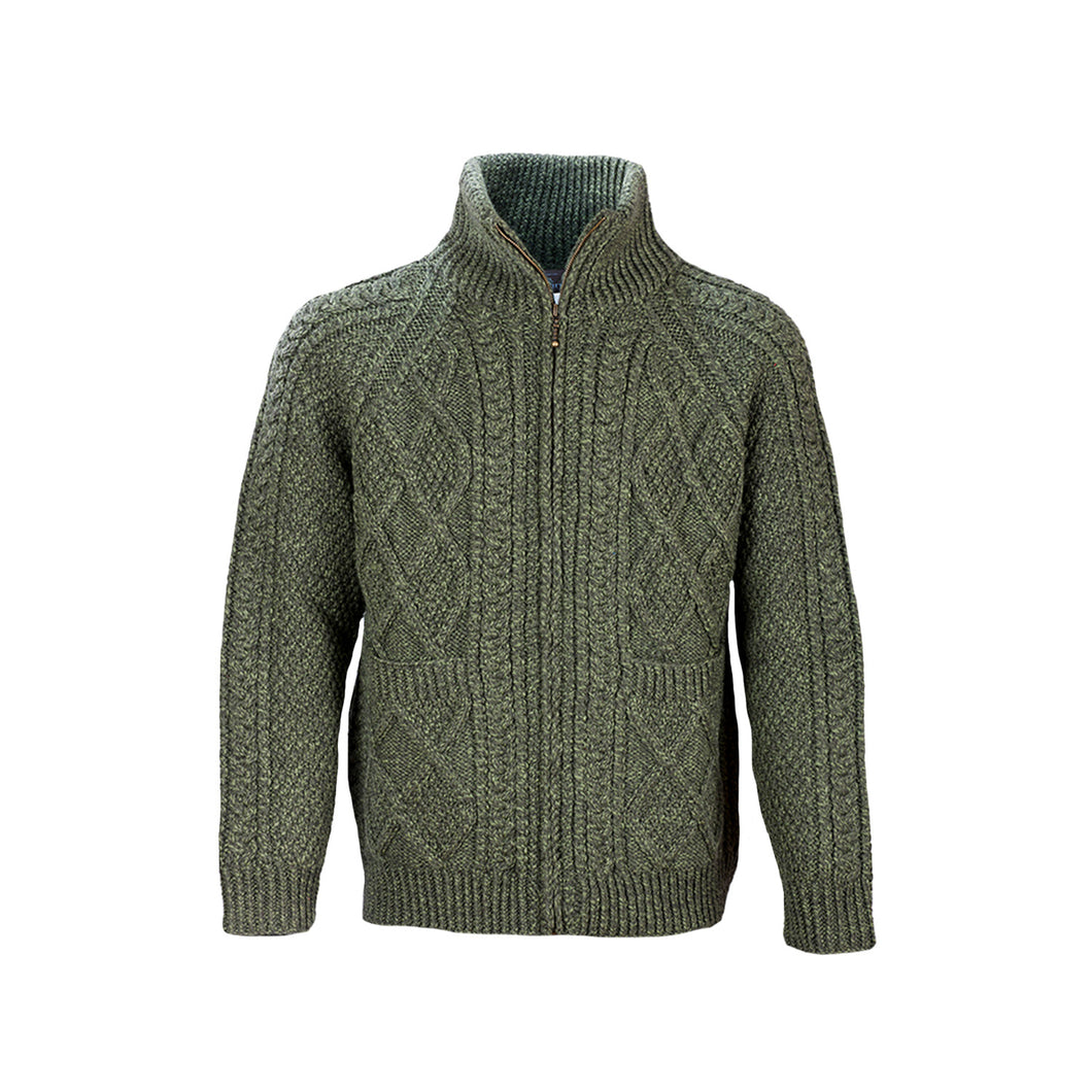 Hand Knit Zip Sweater, Moss Green