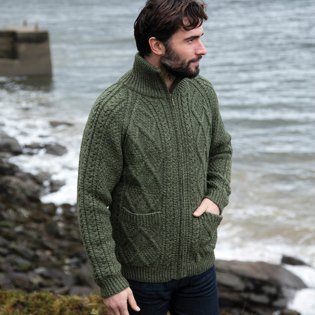 Green Hand Knit Aran Zip Cardigan