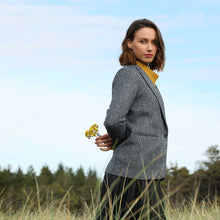 Load image into Gallery viewer, Navy Cara Herringbone Donegal Tweed Blazer