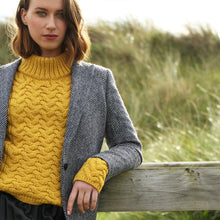 Load image into Gallery viewer, Shaped Neck Aran Sweater, Mustard