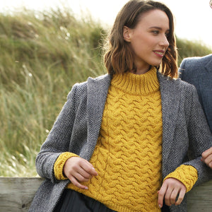 Shaped Neck Aran Sweater, Mustard