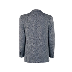 Navy Cara Herringbone Donegal Tweed Blazer